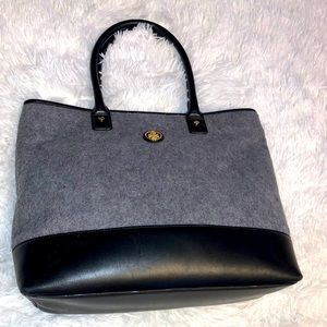 Tory Burch wool and leather tote bag